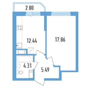Планировка Однокомнатная квартира площадью 41.5 кв.м в ЖК «