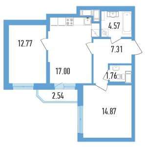 Планировка Двухкомнатная квартира (Евро) площадью 59.55 кв.м в ЖК «