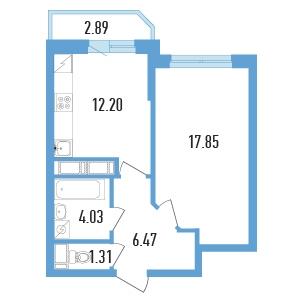Планировка Однокомнатная квартира площадью 43.3 кв.м в ЖК «