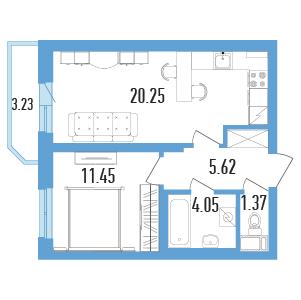 Планировка Однокомнатная квартира площадью 44.35 кв.м в ЖК «Балканы»