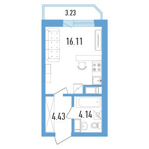 Планировка Однокомнатная квартира площадью 26.29 кв.м в ЖК «Балканы»