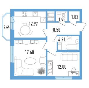 Планировка Двухкомнатная квартира площадью 60 кв.м в ЖК «Балканы»
