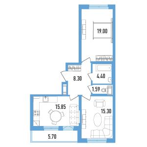 Планировка Двухкомнатная квартира площадью 67.29 кв.м в ЖК «Балканы»