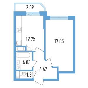 Планировка Однокомнатная квартира площадью 43.85 кв.м в ЖК «