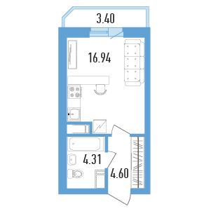 Планировка Однокомнатная квартира площадью 27.55 кв.м в ЖК «Балканы»