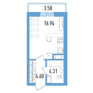 Планировка Однокомнатная квартира площадью 27.64 кв.м в ЖК «Балканы»