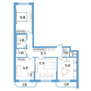 Планировка Трёхкомнатная квартира площадью 91.7 кв.м в ЖК «Балканы»