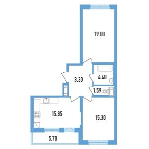 Планировка Двухкомнатная квартира (Евро) площадью 67.29 кв.м в ЖК «