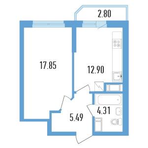 Планировка Однокомнатная квартира площадью 41.95 кв.м в ЖК «