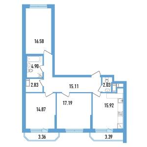 Планировка Трёхкомнатная квартира площадью 92.13 кв.м в ЖК «