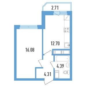 Планировка Однокомнатная квартира площадью 38.83 кв.м в ЖК «