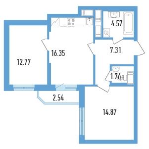 Планировка Двухкомнатная квартира (Евро) площадью 58.9 кв.м в ЖК «